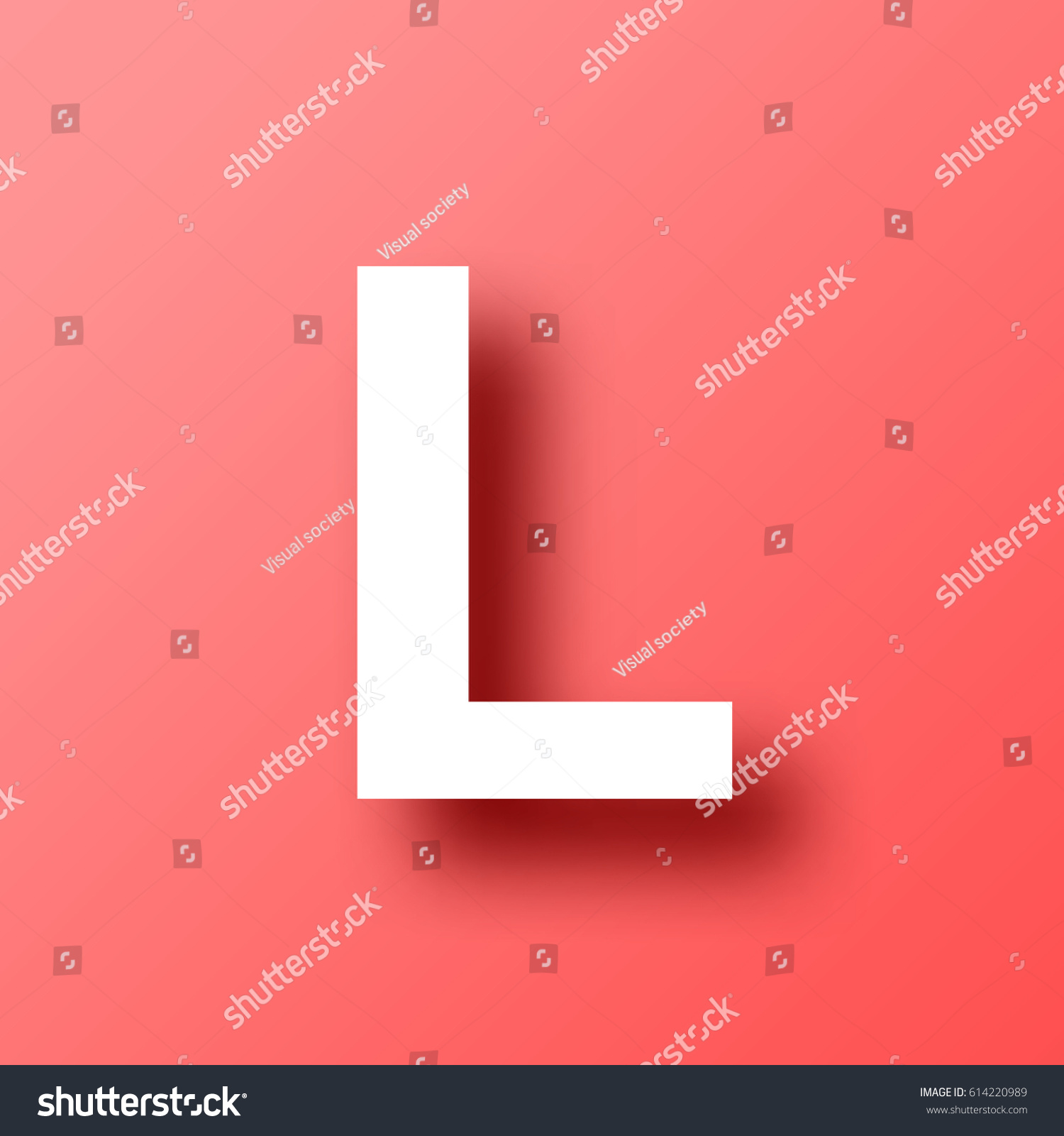 letter l isolated on red background stock vector royalty free