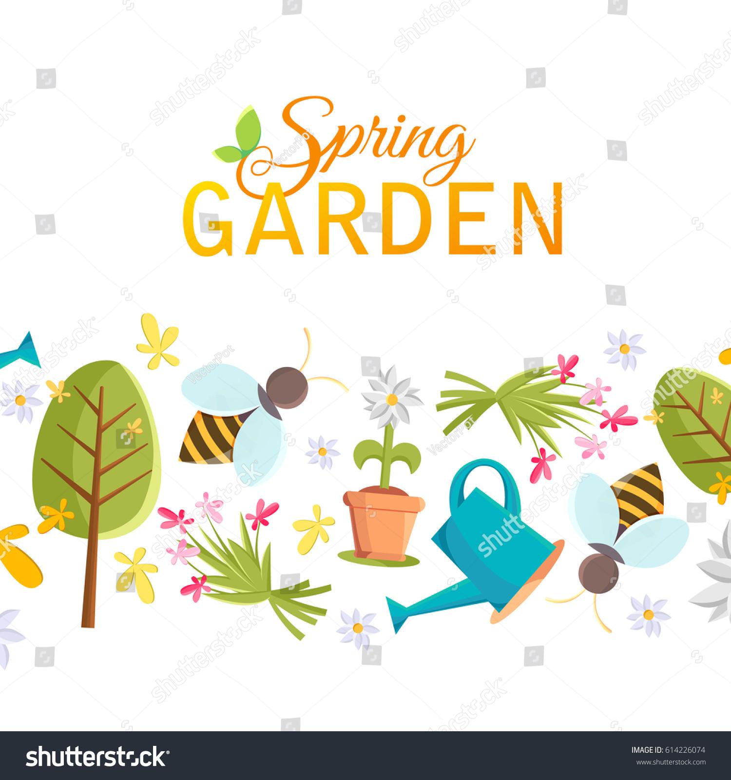 spring garden design poster tree pot stock vector