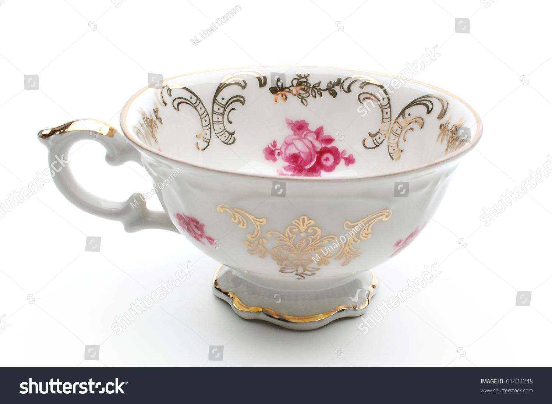 Antique Porcelain Tea Cup On White Stock Photo 61424248