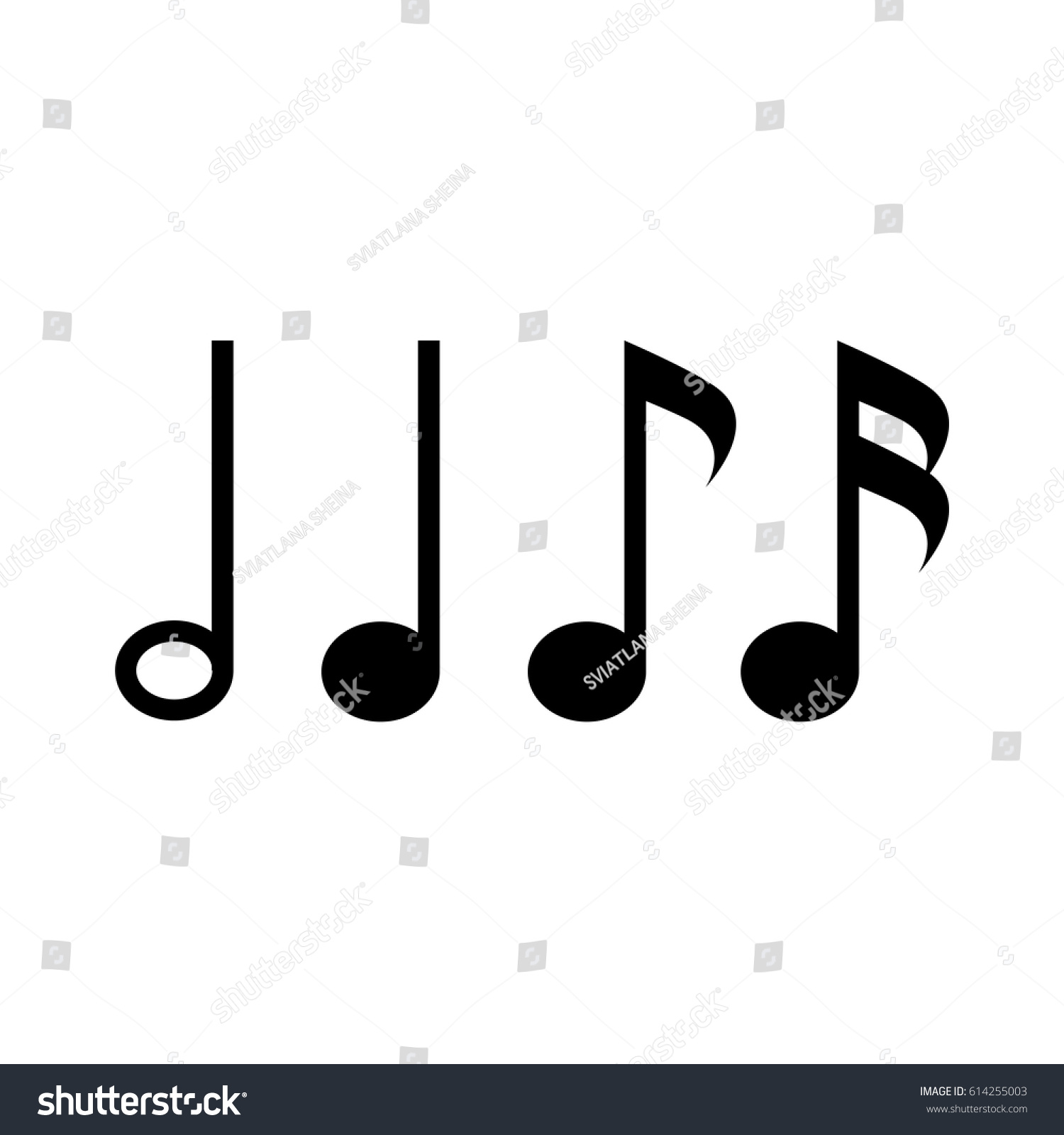 Symbol music notes sixteenth note eighth stock vector 614255003 symbol of music notes sixteenth note eighth note quarter note and half buycottarizona