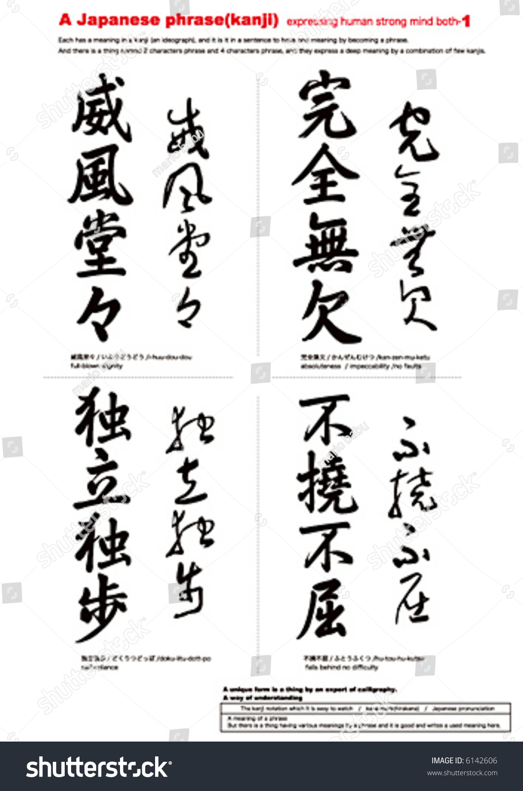 Japanese Calligraphy Explanationkanji Characters Expressing Human