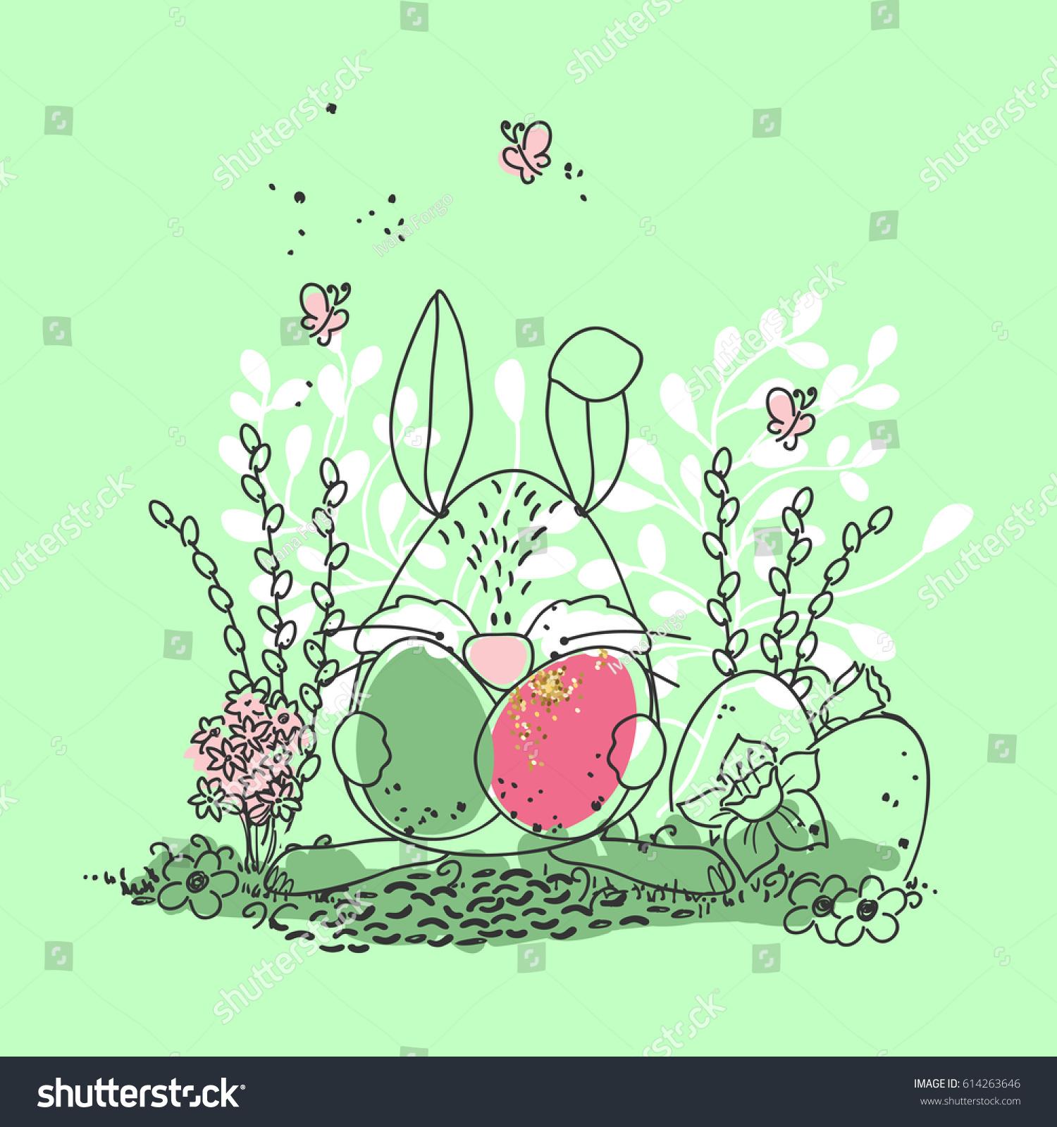 easter bunny eggs stock vector 614263646 shutterstock
