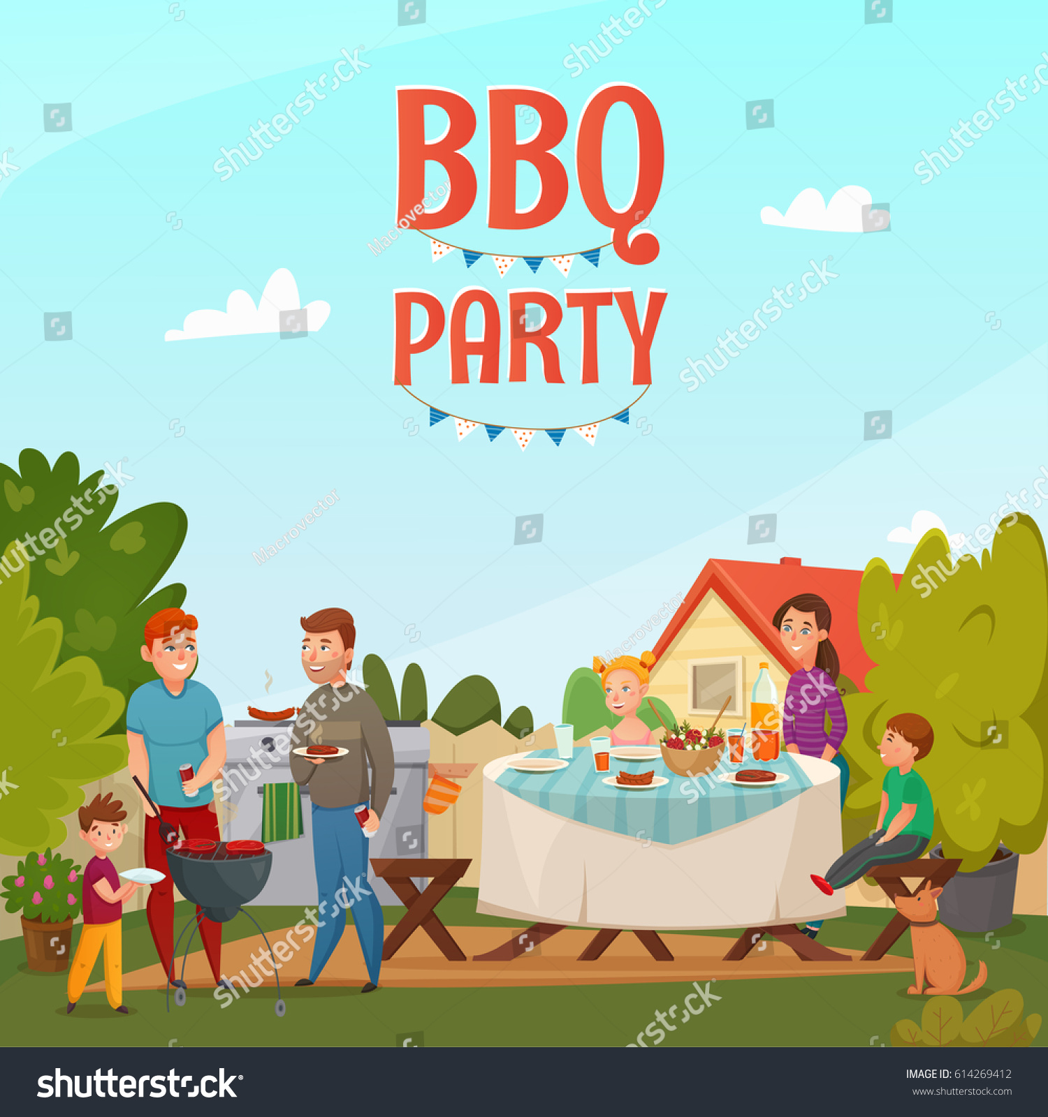 colored cartoon barbecue party poster family stock vector