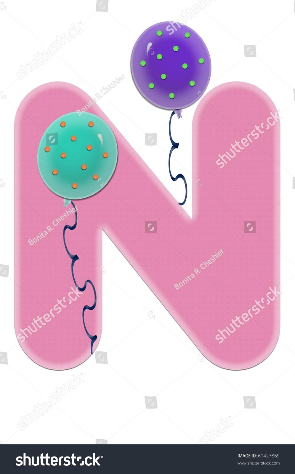 Alphabet N Alpha Balloon Bash Decorated Stock Illustration 61427869 ...