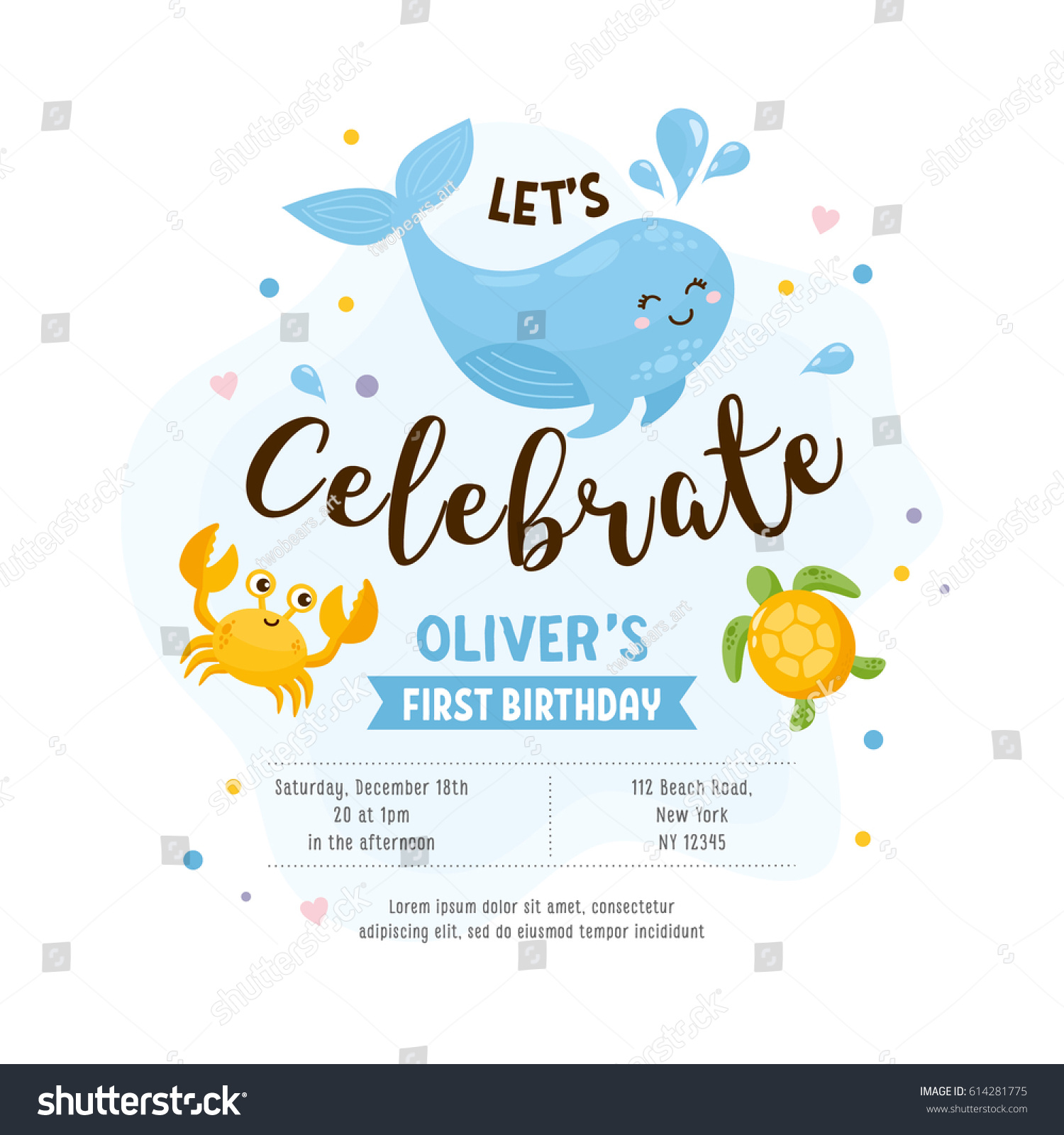 Invitation greeting card template baby shower em vetor stock invitation or greeting card template baby shower happy whale crab turtle stopboris Images