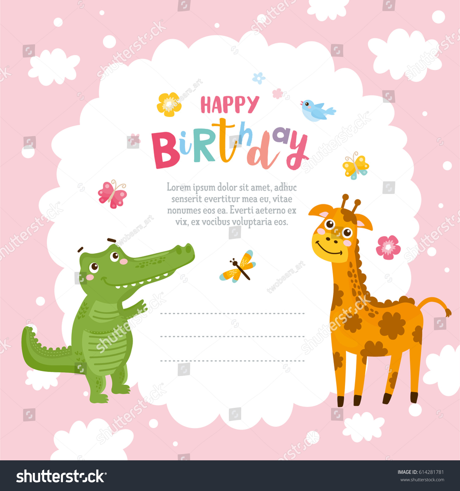 Greeting Card Design Cute Alligator Giraffe Stock Vector HD (Royalty ...