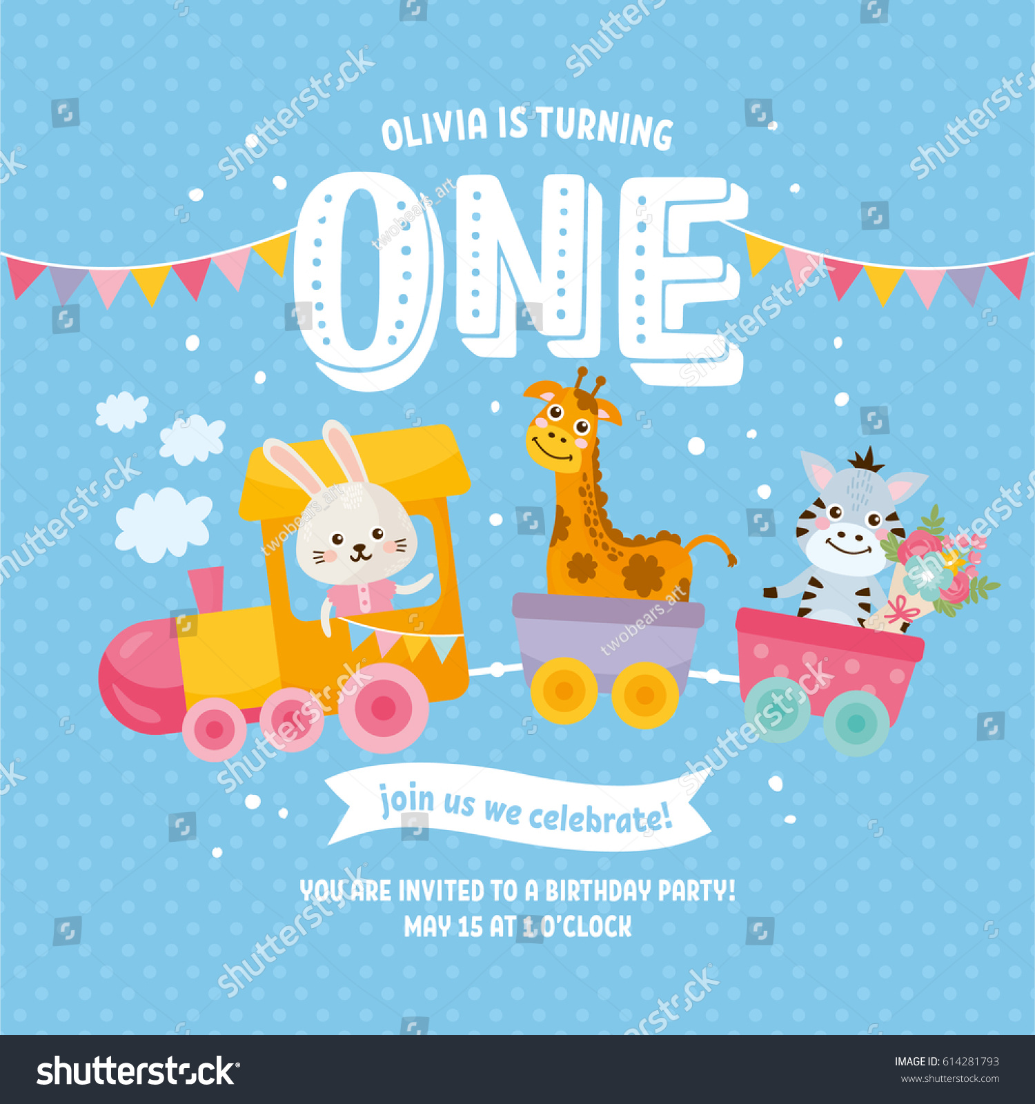 Happy Birthday Greeting Card Design Invitation Template With Cute Animals Letters One