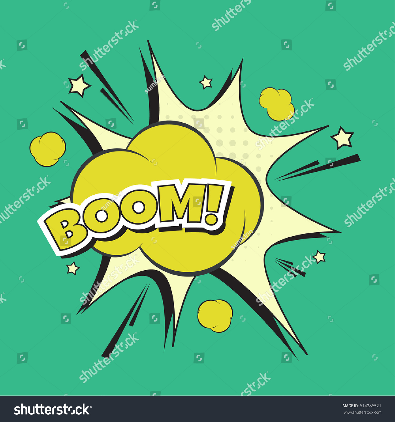 Vector Lettering Boom Bomb Explosion Color Stock Vector (Royalty ...