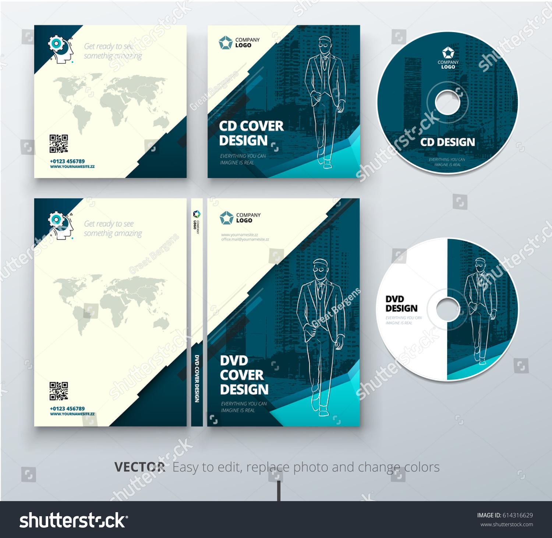 cd envelope dvd case design teal stock vector 614316629