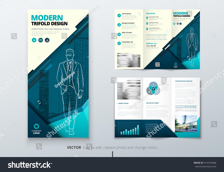Tri Fold Brochure Design Teal DL Stock-Vektorgrafik 614316686 ...
