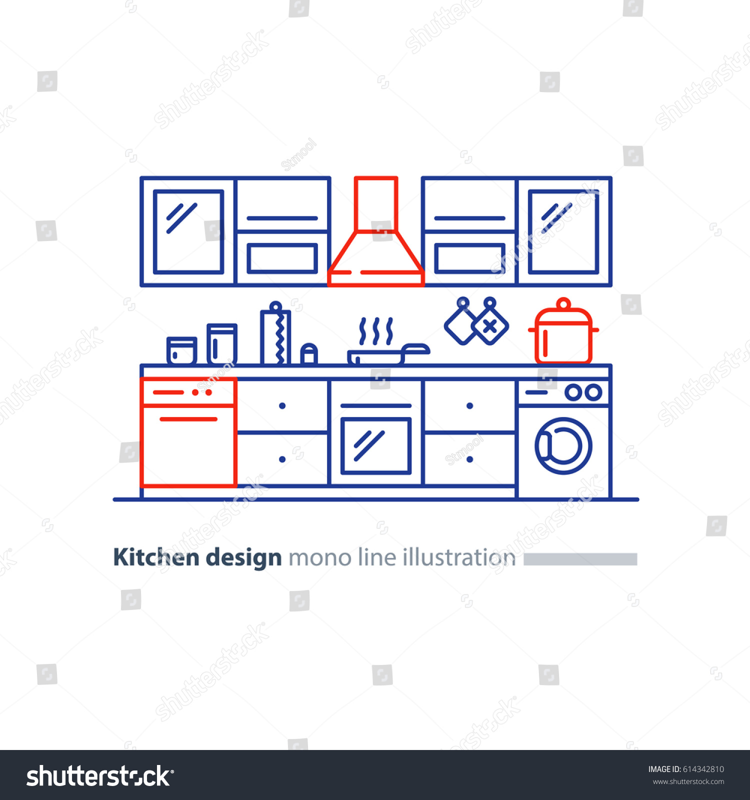 Kitchen project design blueprint combination idea vectores en stock kitchen project design blueprint combination idea home furniture arrangement plan vector malvernweather Gallery