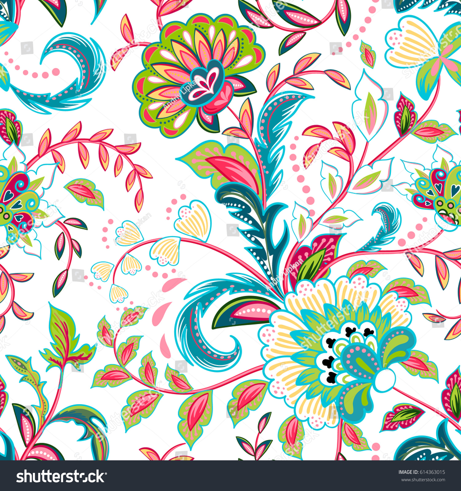 seamless pattern fantasy flowers natural wallpaper stock vector