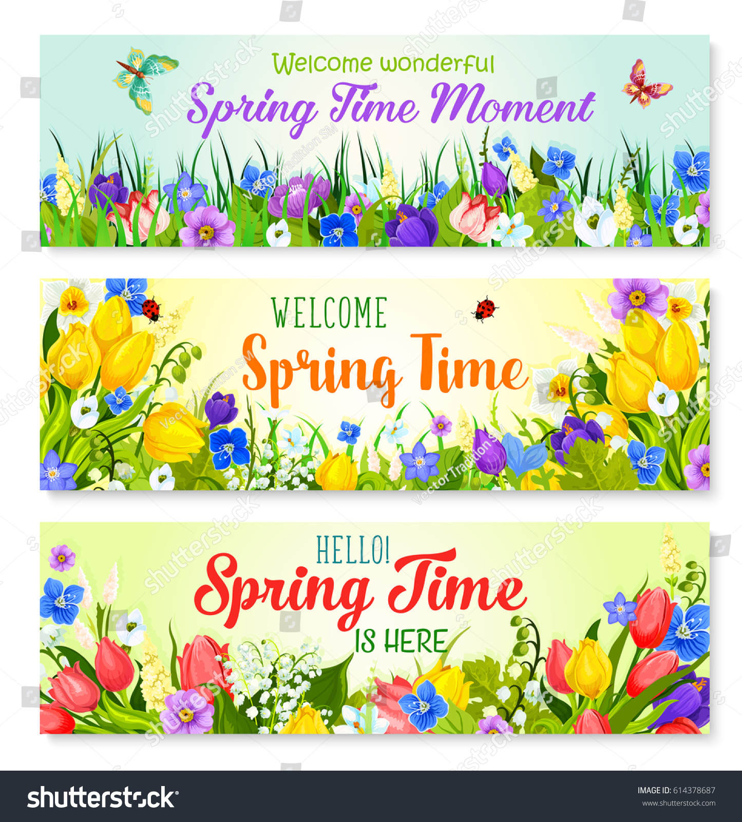 Spring Time Holiday Greeting Banner Flowers Stock Vector Royalty