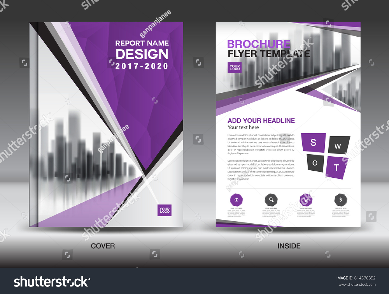 Book color scheme - Purple Color Scheme With City Background Business Book Cover Design Template In A4 Business Brochure