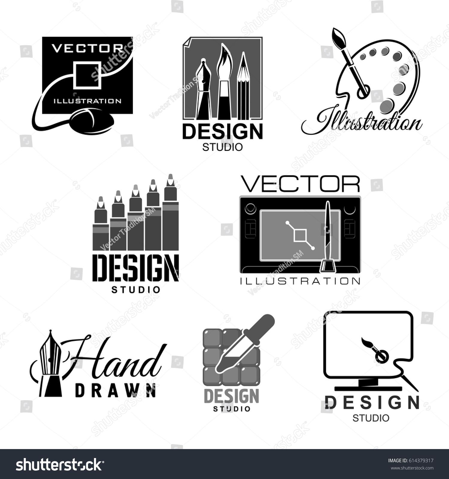 Design Studio Template Icons Graphic Illustration Stock Vector ...