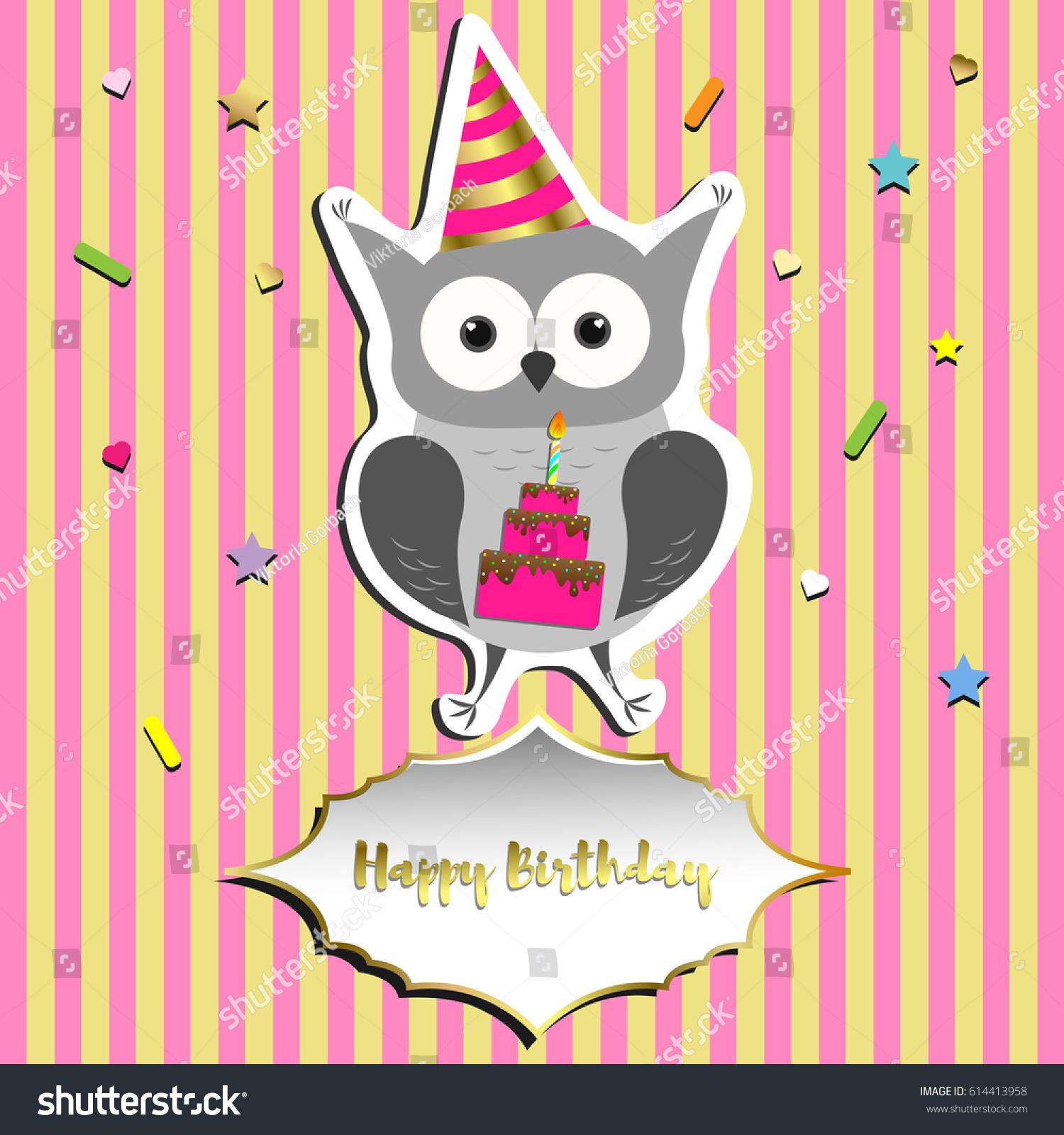 Happy Birthday Greeting Card Design Cute Stock Vector Royalty Free