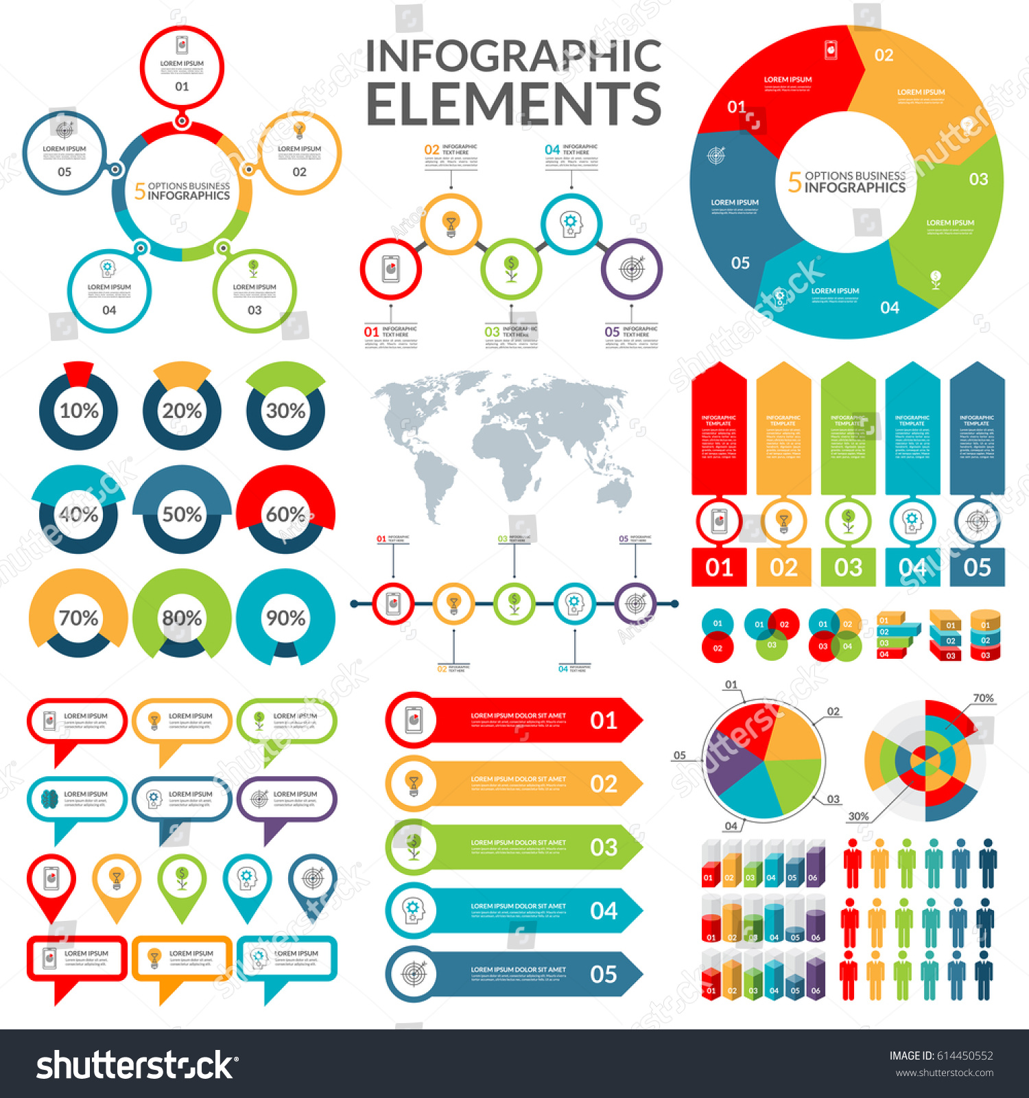 Set Infographic Elements Circle Pie Chart Stock Vector Royalty Free