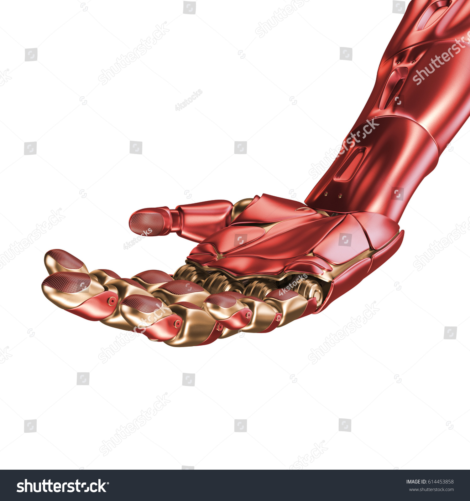 The Hand Of An Iron Man. Red And Gold Coloring. 3d Rendering. Template