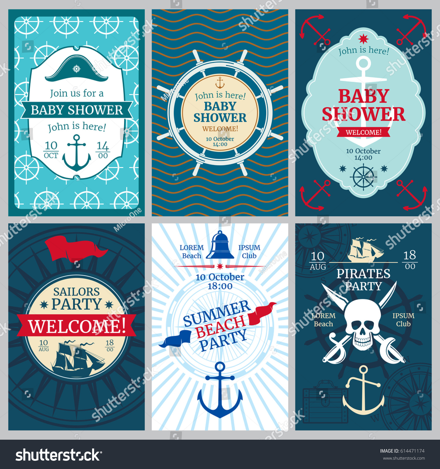 Nautical baby shower birthday beach party stock vector 614471174 nautical baby shower birthday beach party vector invitation cards template of nautical banner pronofoot35fo Images