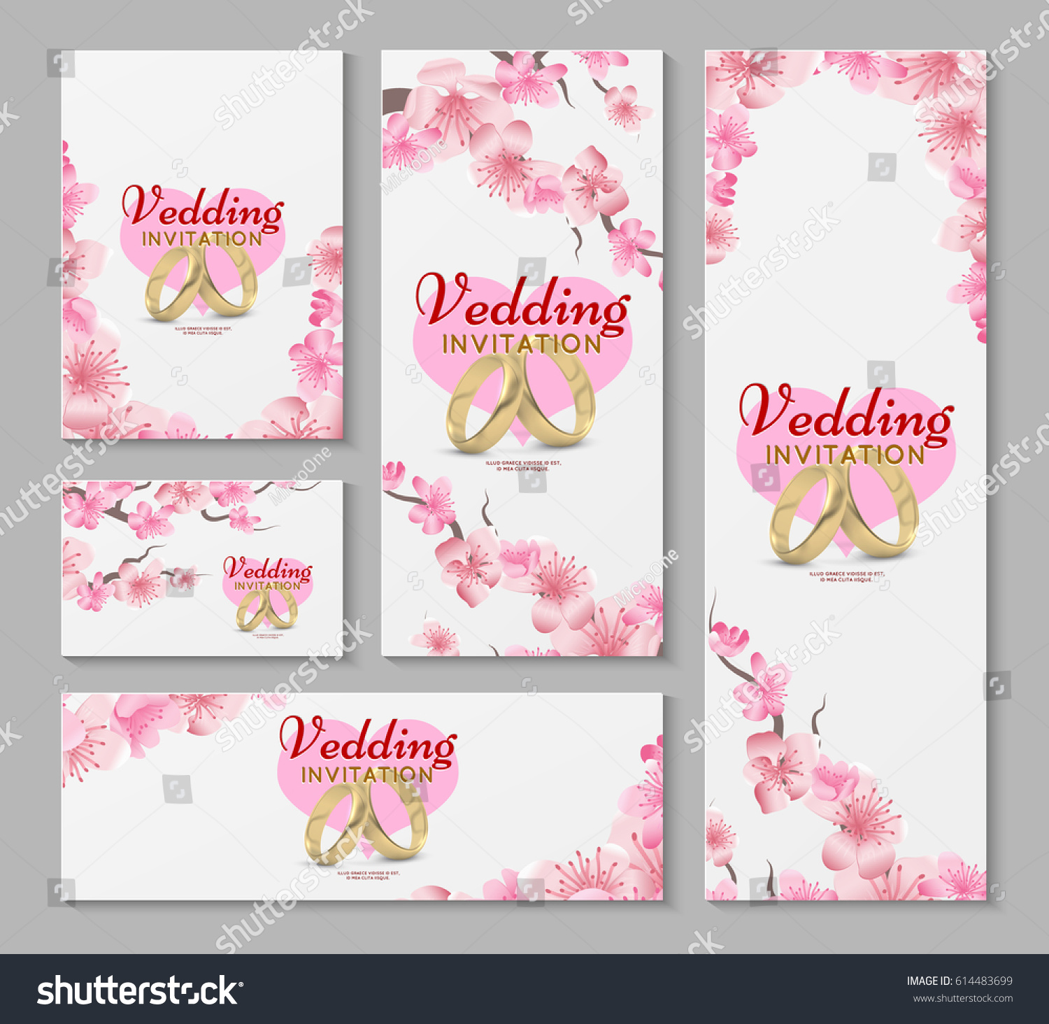 Vector Greeting Wedding Invitation Cards Japanese Stock Vector ...