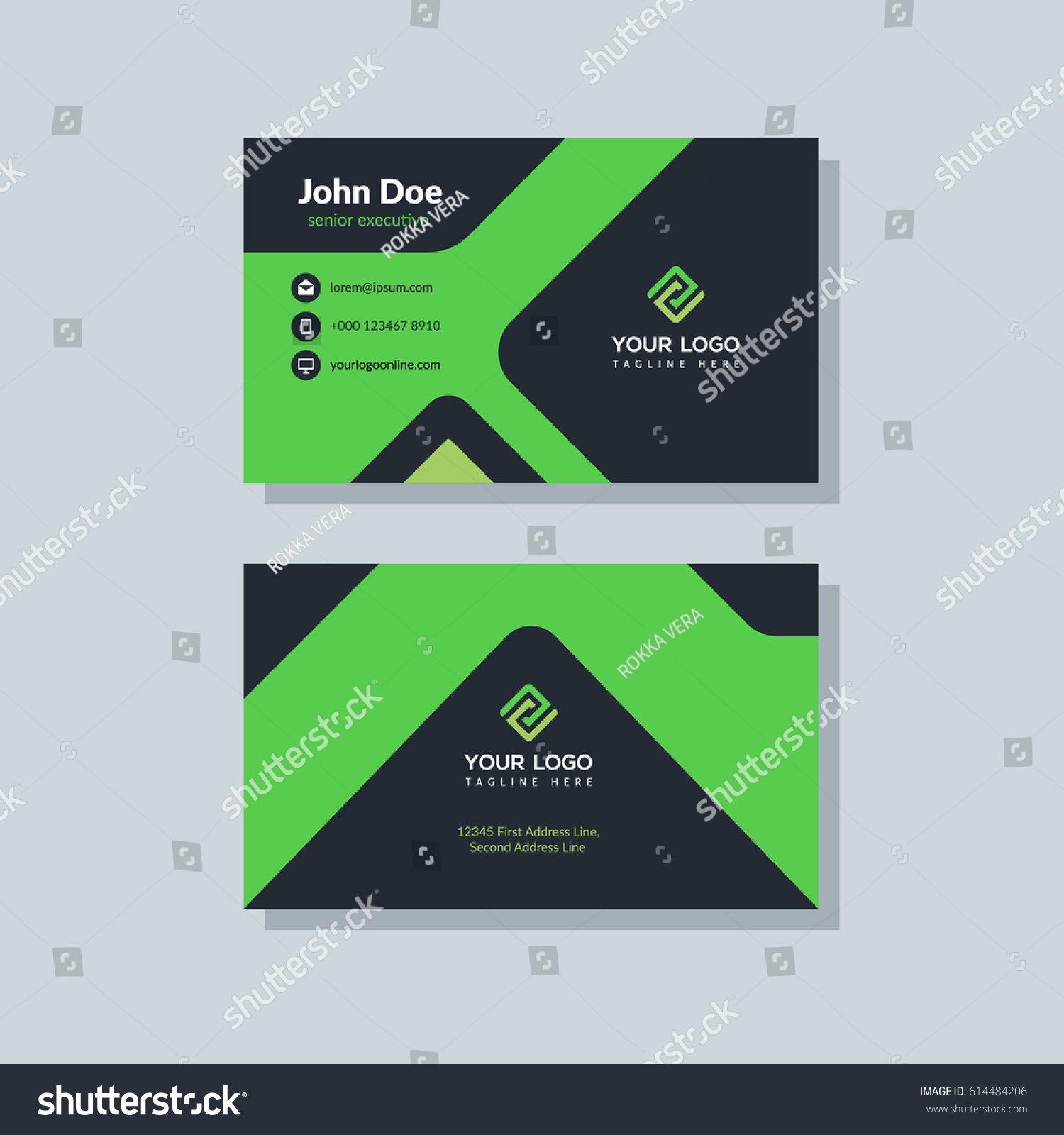 Modern Black Green Business Card Template Stock Photo (Photo, Vector ...