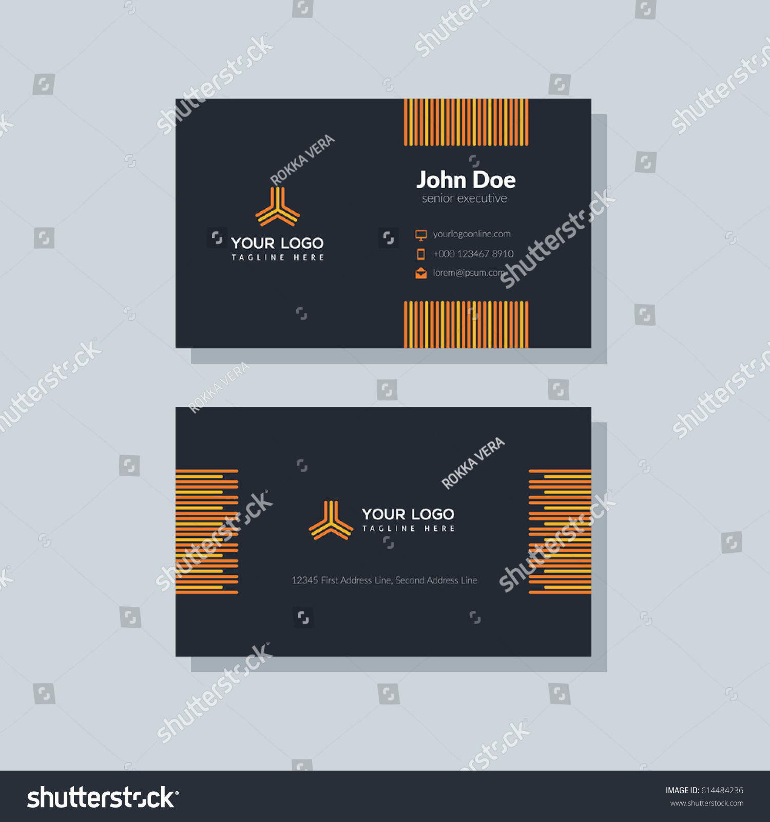 Modern black business card template flat stock vector 614484236 modern black business card template in flat design abstract background personal plain design with fbccfo Images