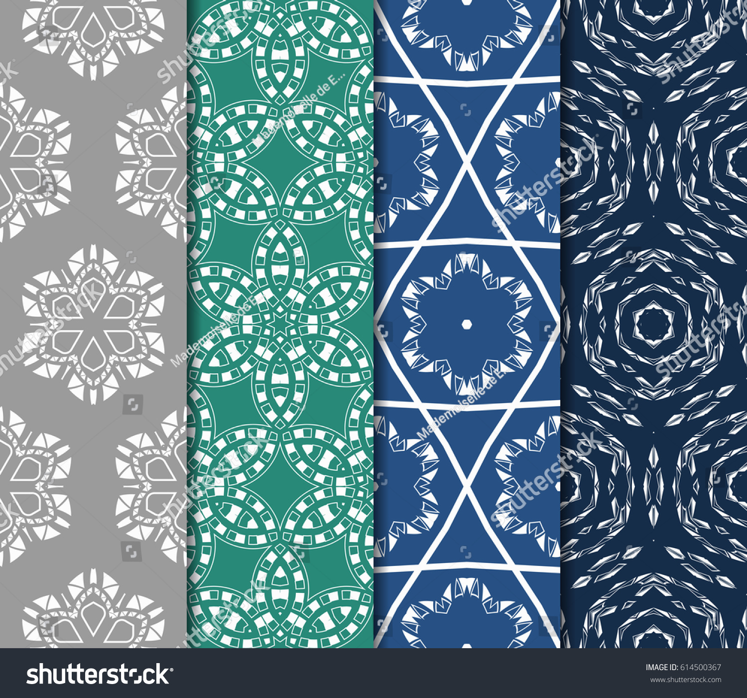 Set Abstract Geometric Pattern Floral Elements Stock Vector 2018