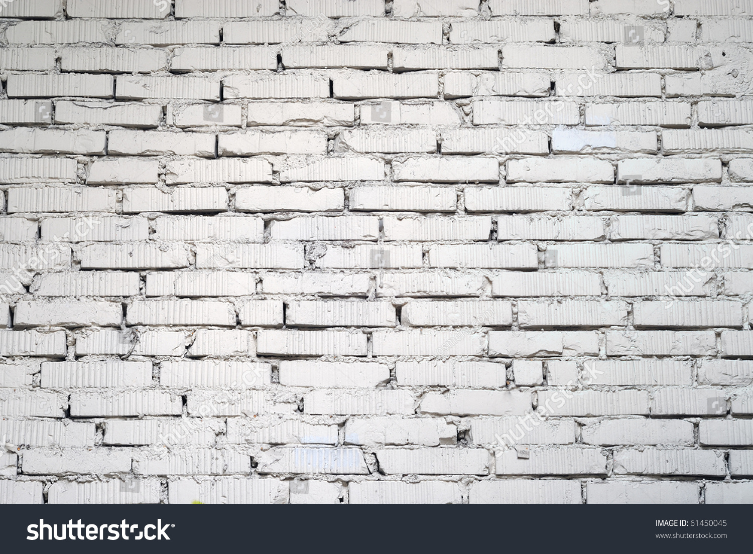 White Painted Old Brick Wall Stock Photo 61450045