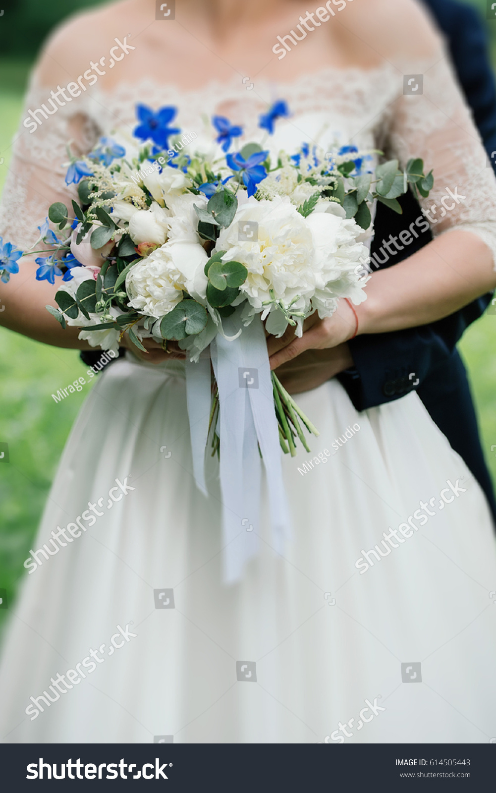 Wedding Bouquet Peonies Blue Flowers Greenery Stock Photo Edit Now