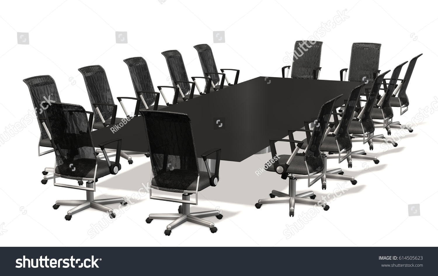 Boardroom, Meeting, Conference Table With With Office Chairs. Business  Concept. Isolate On