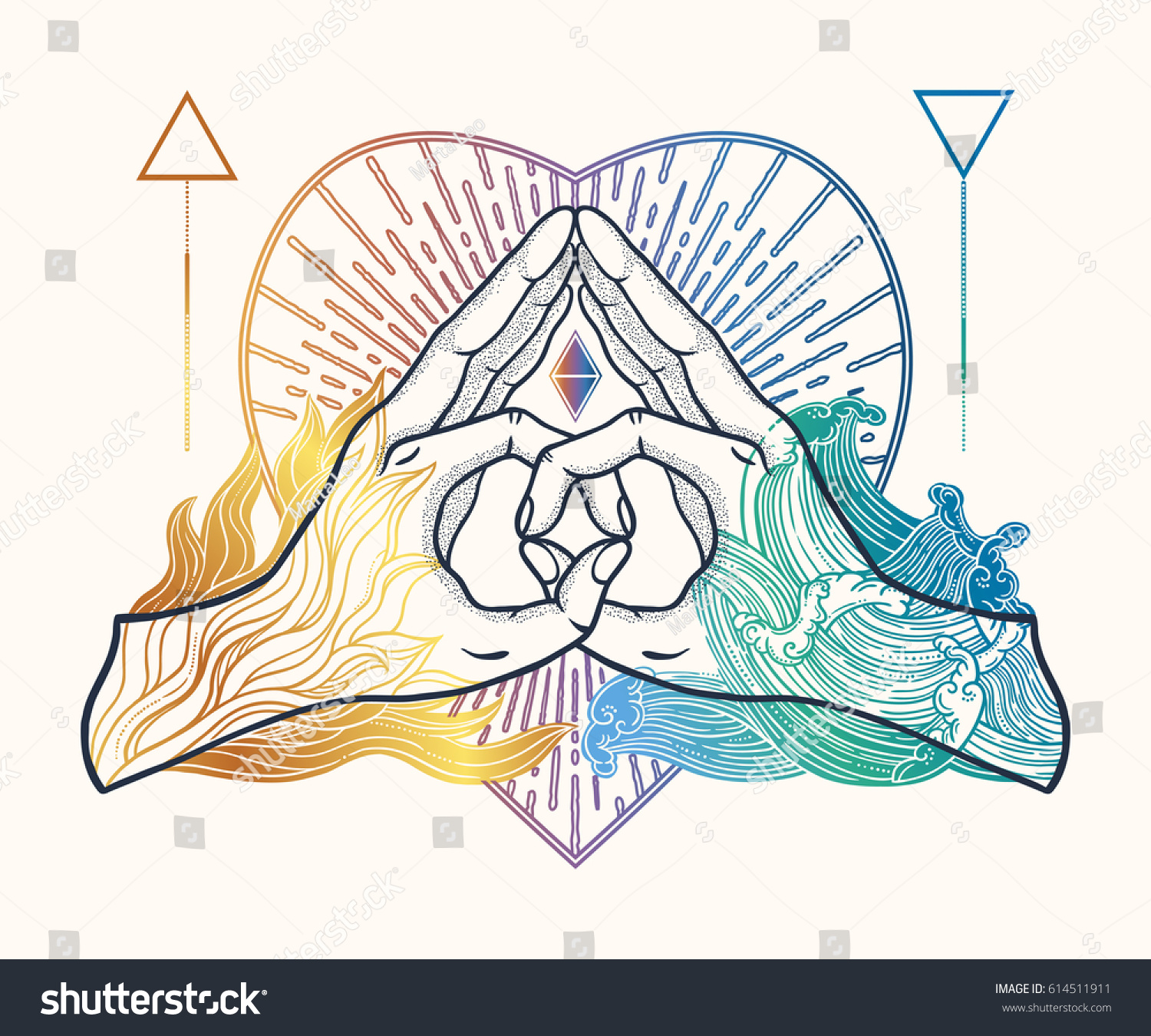 Heart shape gesture symbol fusion fire stock vector 614511911 heart shape gesture with a symbol of the fusion of fire and water hands are biocorpaavc Choice Image