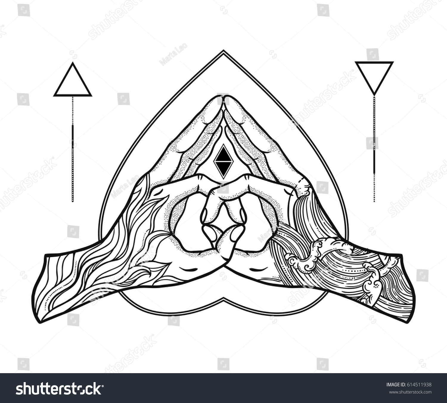Heart shape gesture symbol fusion fire stock vector 614511938 heart shape gesture with a symbol of the fusion of fire and water hands are biocorpaavc Choice Image