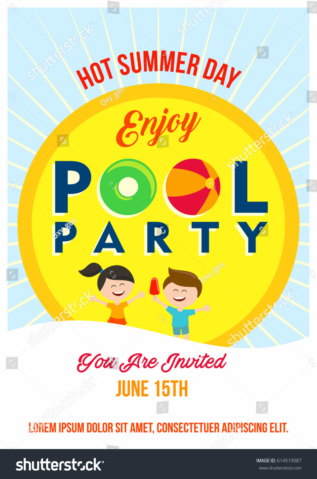 Pool Party Invitation Template Kids Summertime Stock Vector ...