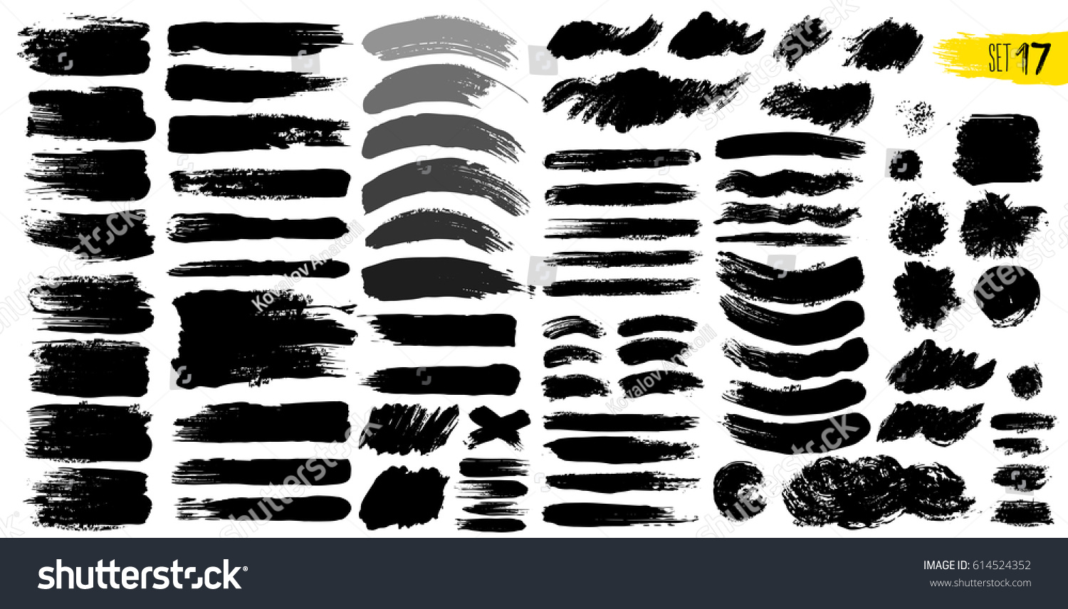 Big collection of black paint, ink brush strokes, brushes, lines. Dirty artistic design elements, boxes, frames. Vector illustration. Isolated on white background. Freehand drawing. #614524352
