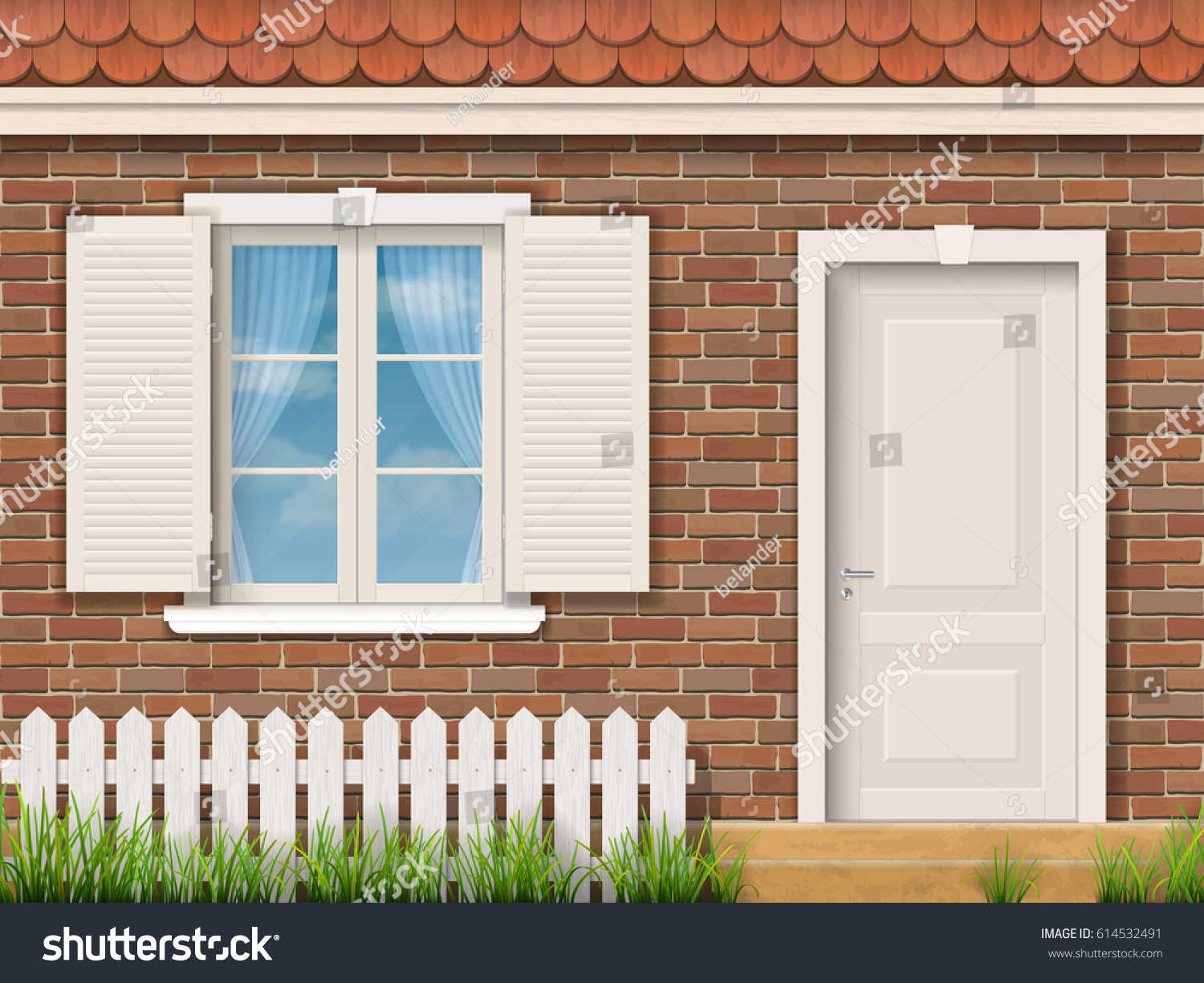 Brick Vector Picture Brick Veneers: Brick Facade Old Building White Window Stock Vector