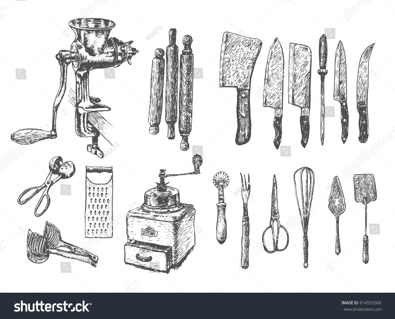 Kitchen set vector large collection hand stock vector for Kitchen set vector