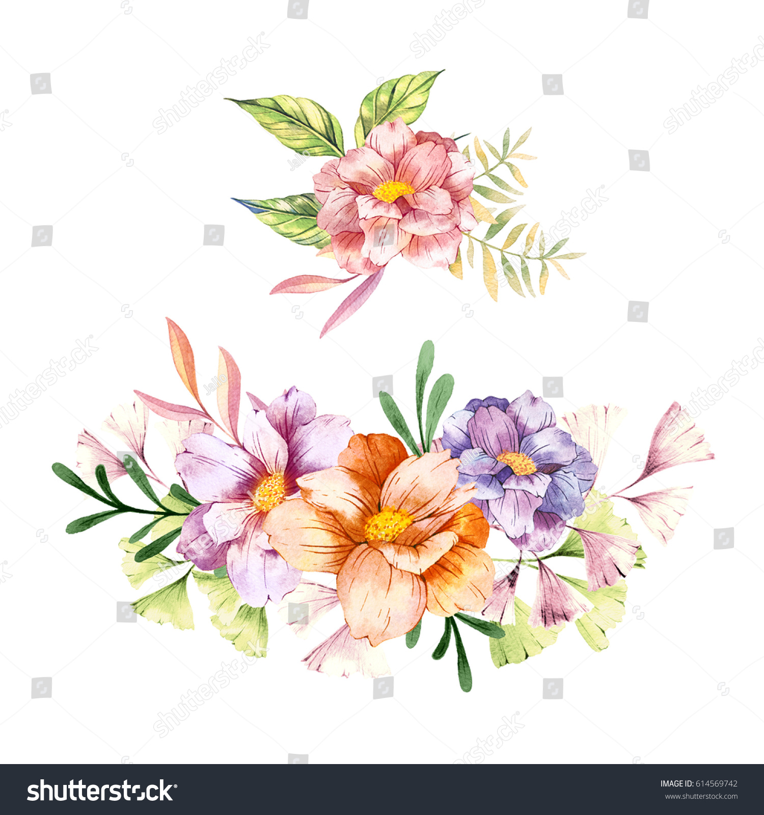 Hand Drawn Watercolor Flowers Bouquets Best Stock Illustration