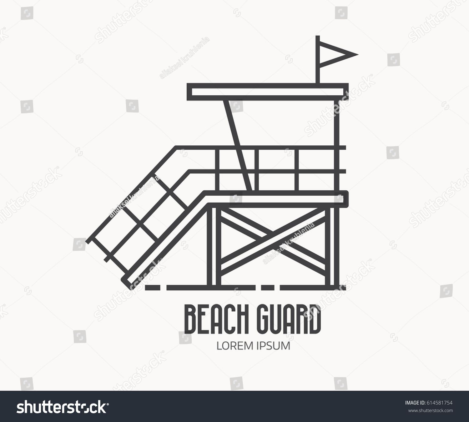 Security Hut Symbol: Beach Lifeguard Logo Thin Line Design Stock Vector