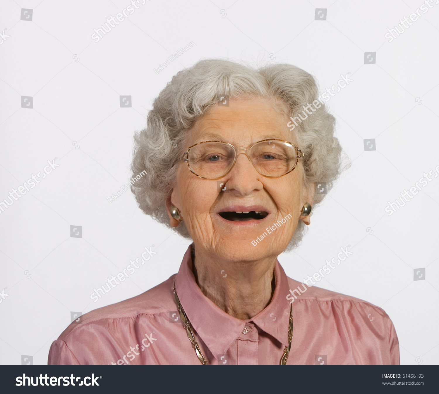 Old Woman Glasses Gray Hair Happy Stock Photo 61458193