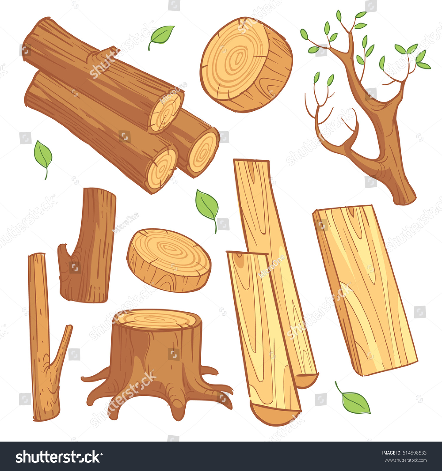 Wood Log Cartoon ~ Cartoon wooden materials lumber firewood wood stock vector