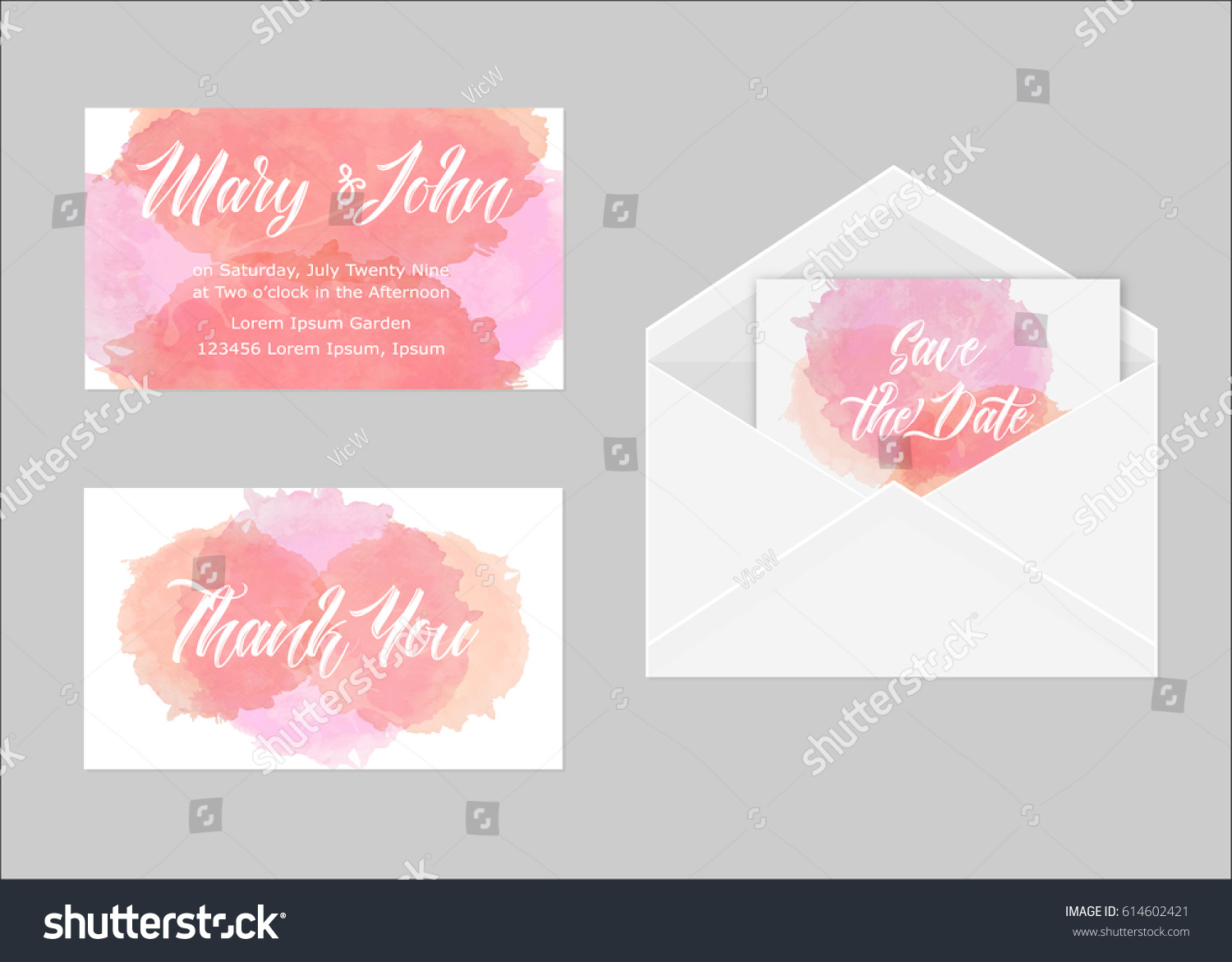 Wedding Invitation Set Three Cards Hand Stock Vector 614602421