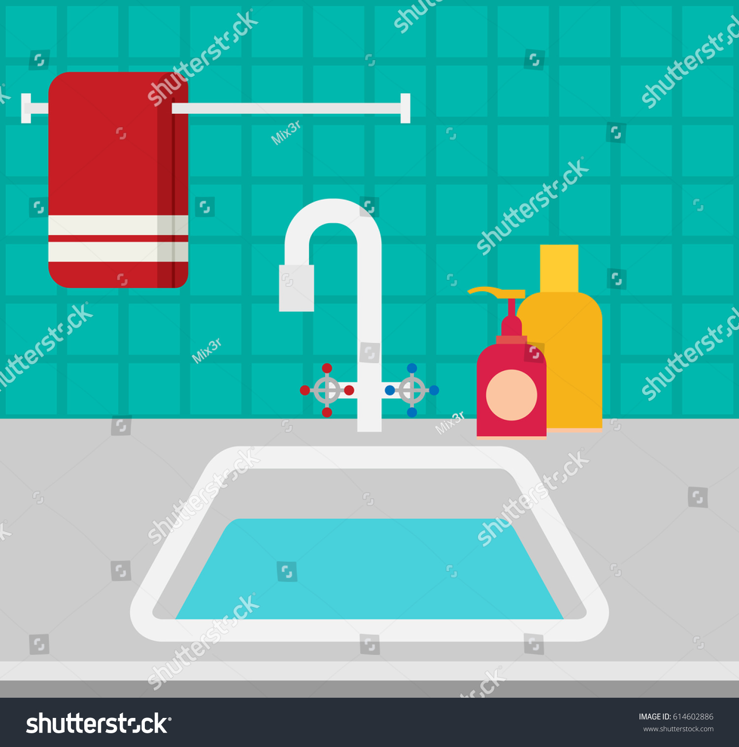 Kitchen Sink Flat Vector Stock Vector HD (Royalty Free) 614602886 ...