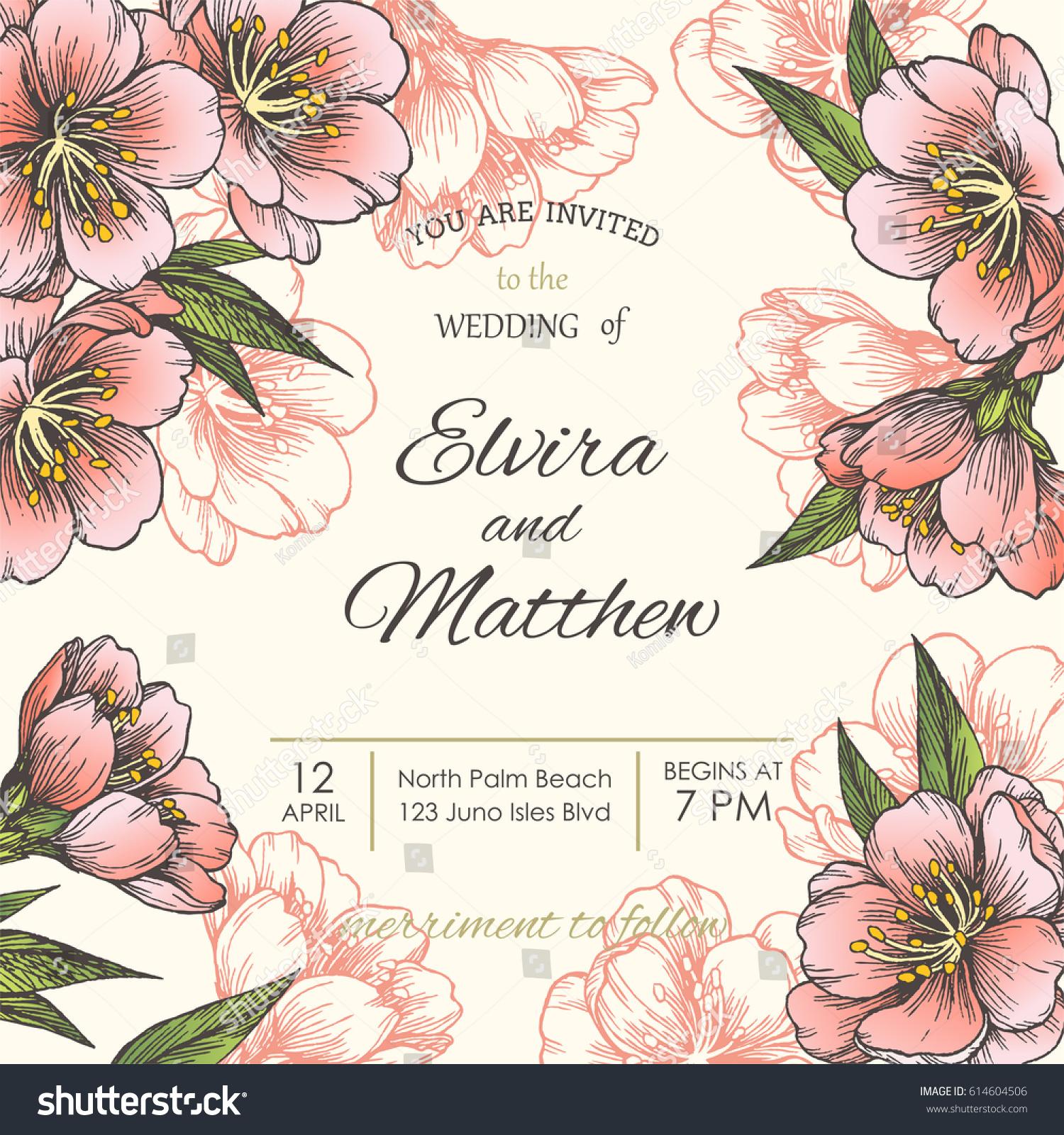 Vintage Wedding Invitation Or Greeting Card Template Vector Hand Drawn Illustration With Spring Blooming Sakura