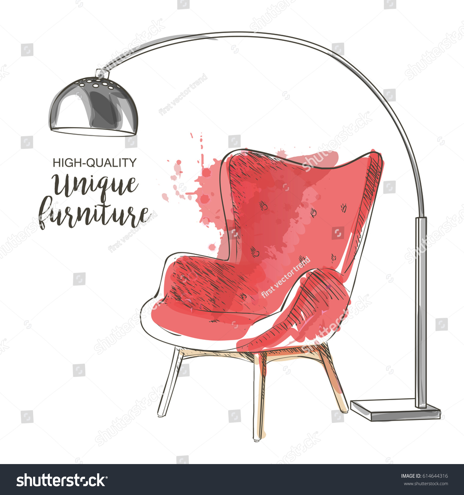Red Chair Lamp Hand Drawn Furniture Stock Vector