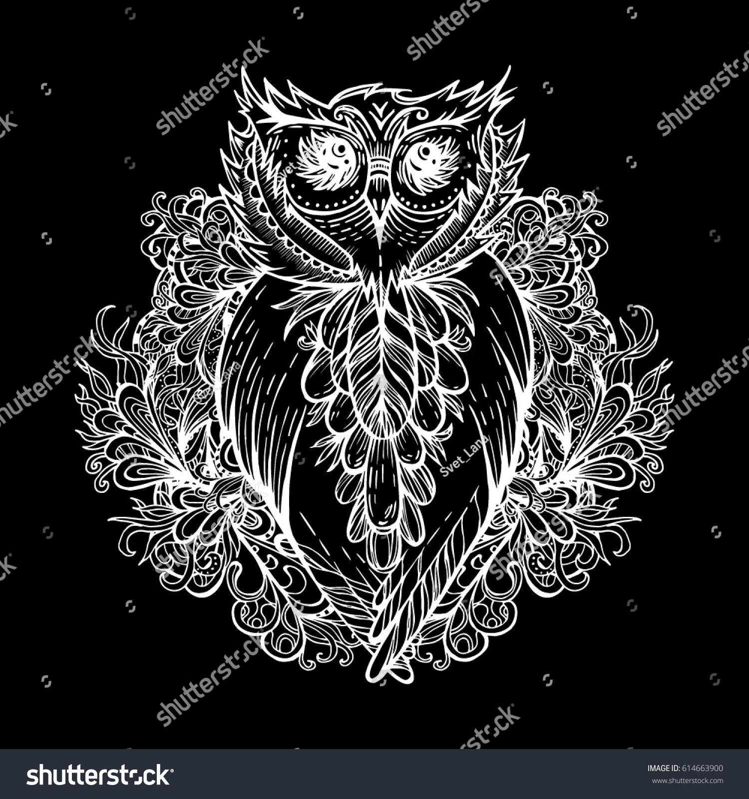 Owl Against Background Vegetative Ornamentation Tattoo Stock Vector ...