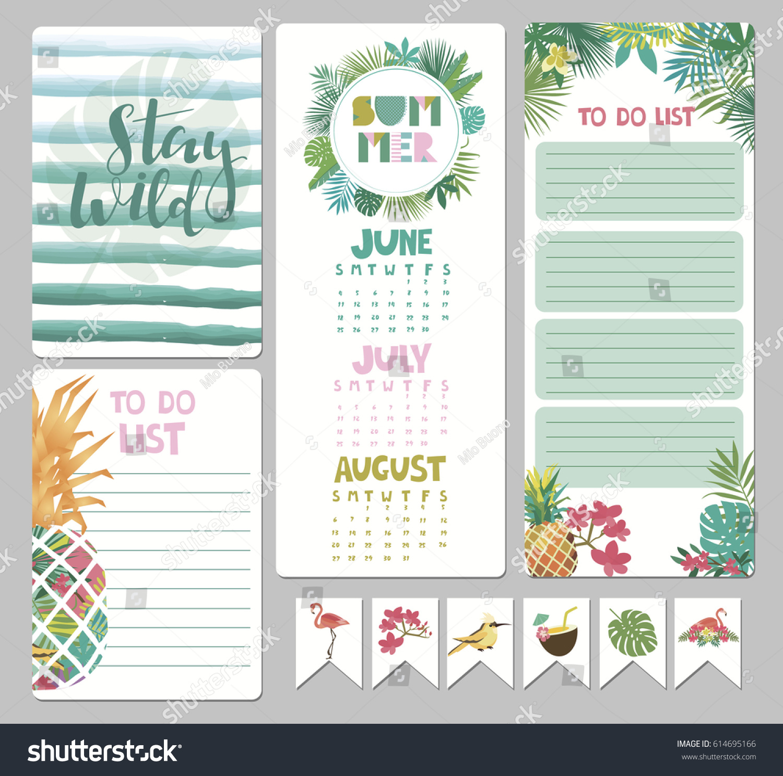 Calendar Illustration List : Set calendar daily weekly planner elements stock vector