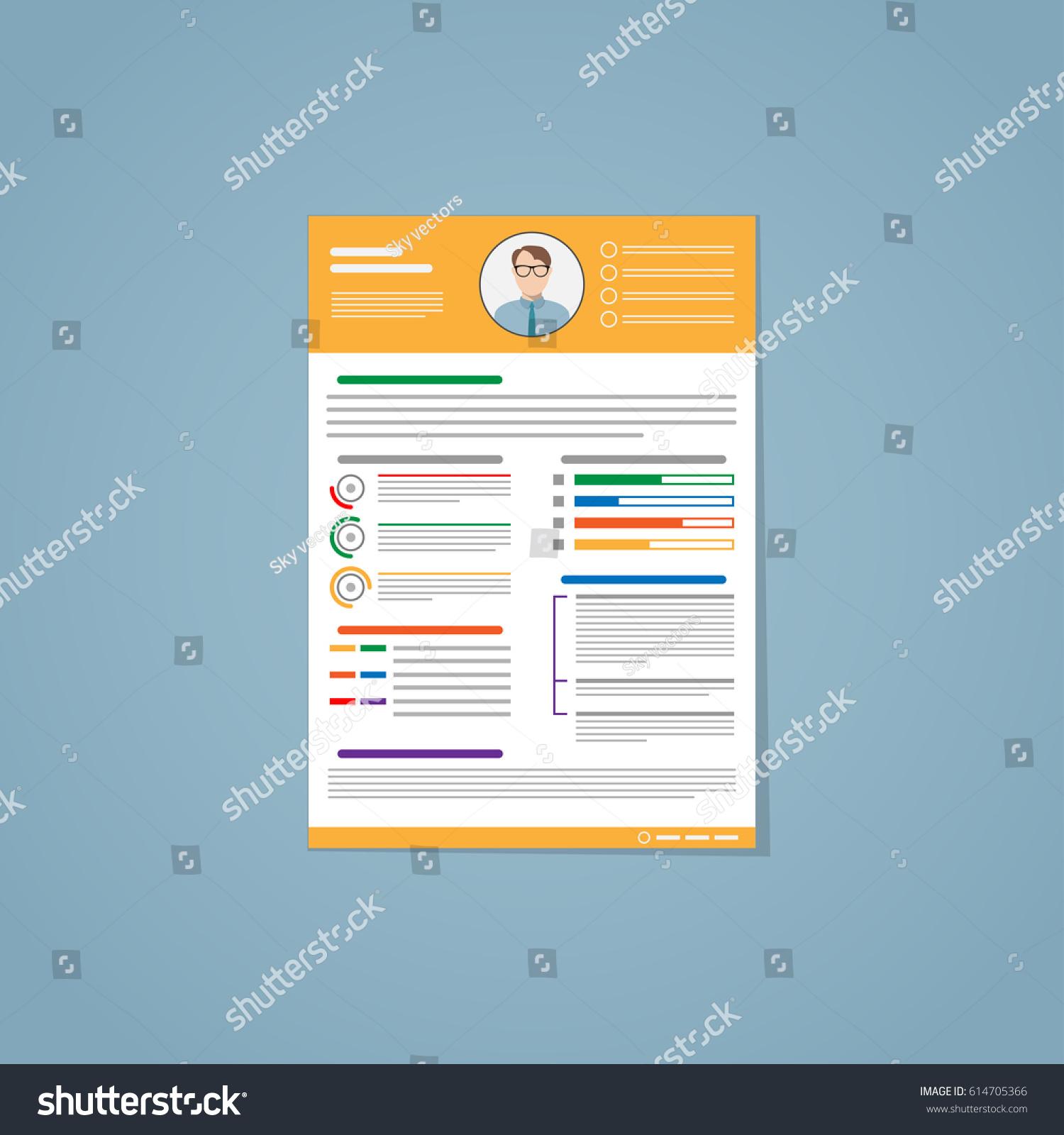 Resume Flat Style Yellow Lines Photo Stock Vector 614705366