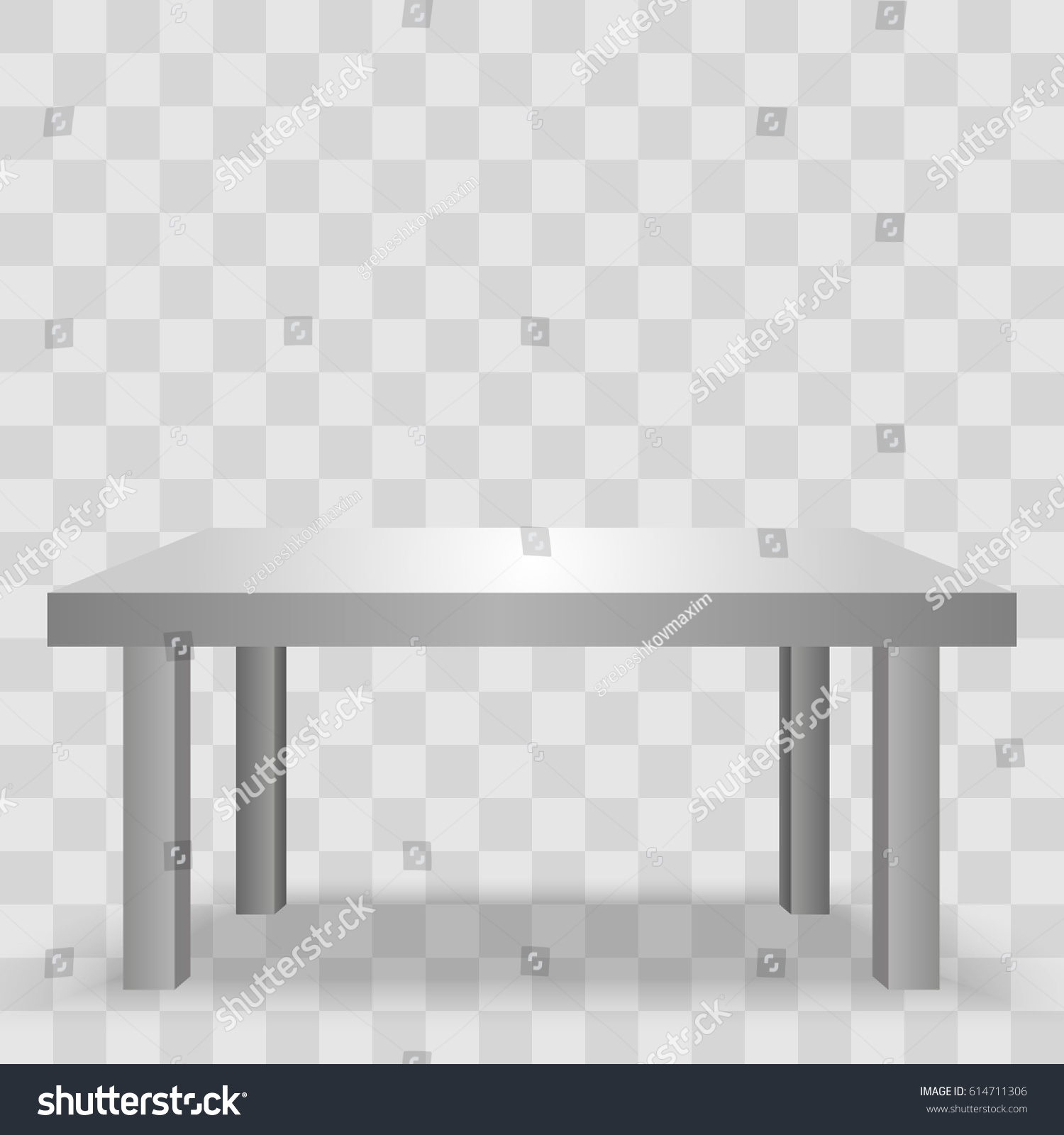 Vector 3d Table For Object Presentation. Empty White Top Table Isolated On  Transparent Background.