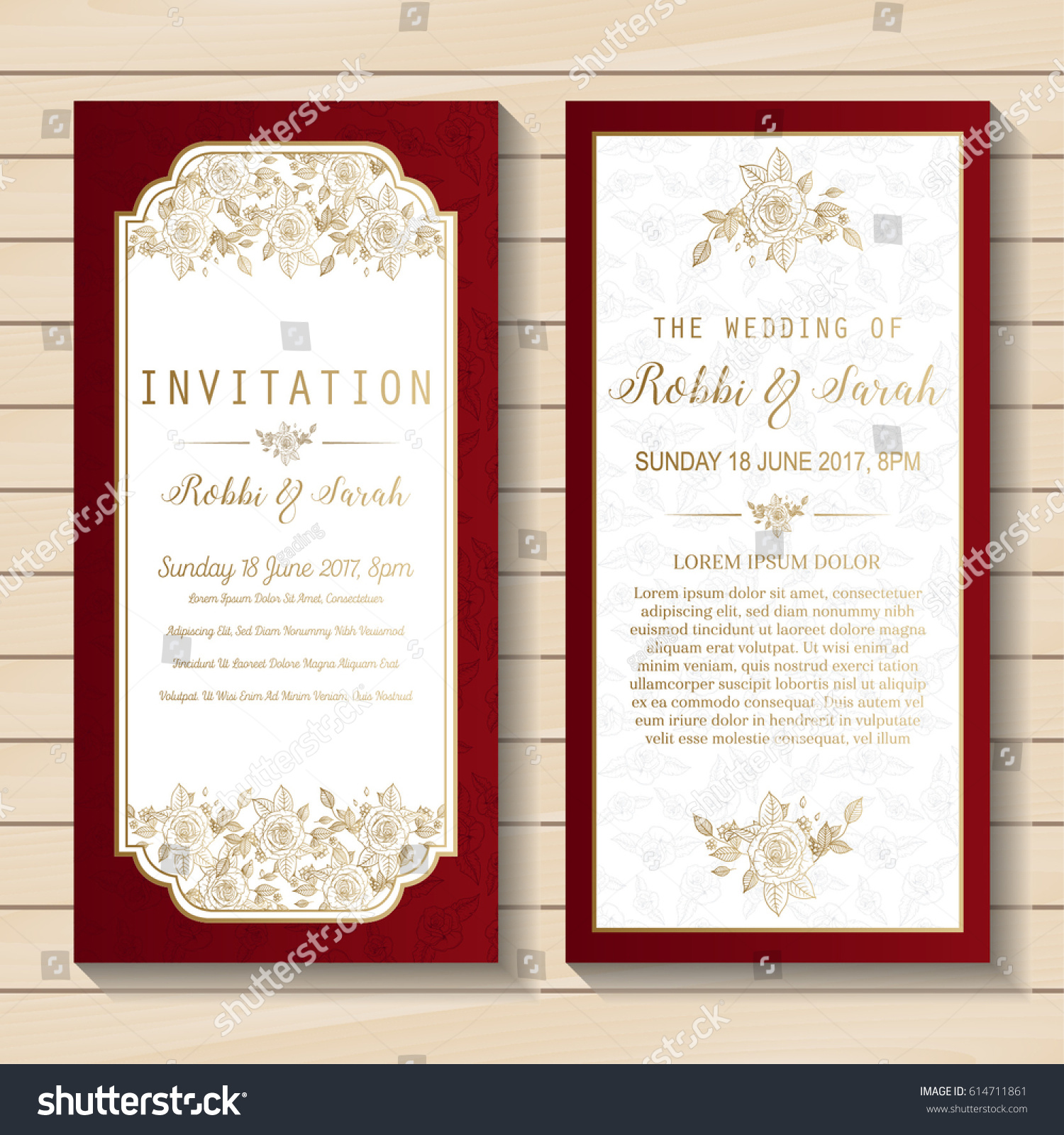 Luxury Wedding Invitation Card Sweet Floral Stock Vector (2018 ...