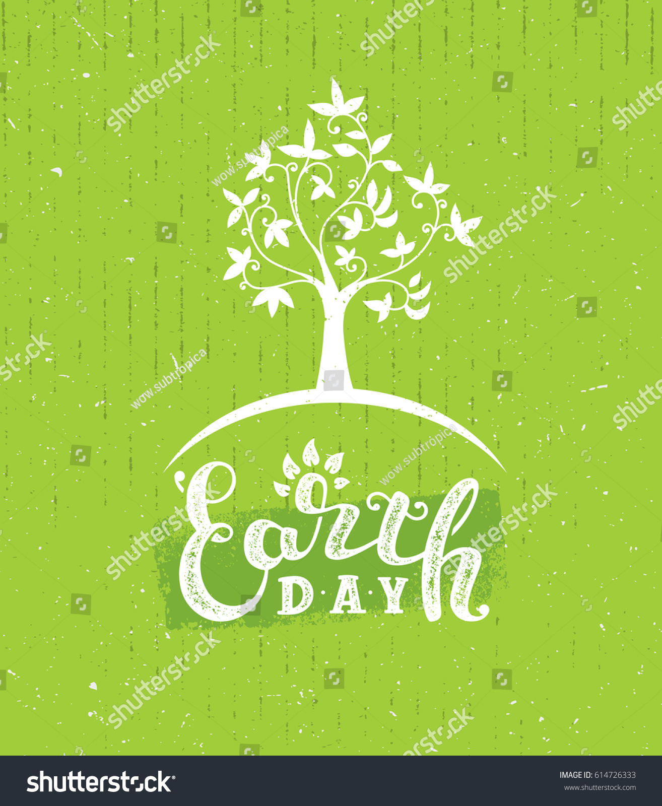 earth day tree creative eco illustration stock vector 614726333
